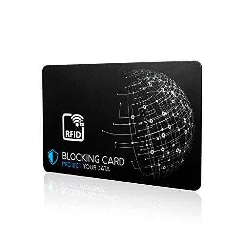 DEKRA geprüfte RFID Blocker Karte I Neuste E-Field Störsender-Technologie - zum Schutz vor Datendiebstahl I extra dünne Karte mit 0,8 mm für jede Geldbörse I Kartenschutz I NFC Schutz
