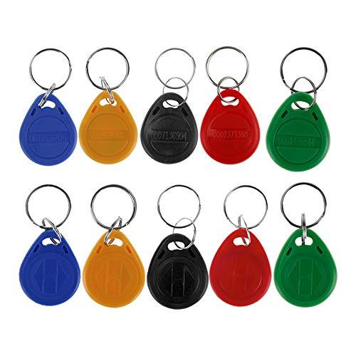 HFeng (Packung mit 10) 125 kHz RFID Zugangskontrolle Schlüsselkarte Nähe EM4100 TK4100 Keyfobs Schlüsselanhänger Smart ID Keycard für Tür Elektroschloss...