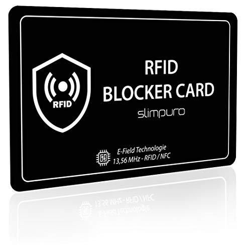 RFID Blocker Karte DEKRA Getestet - Störsender Technologie - NFC Schutzkarte - zum Schutz vor Datendiebstahl - extra dünne Karte mit 0,8 mm geeignet für Jede Geldbörse - Kartenschutz (schwarz)