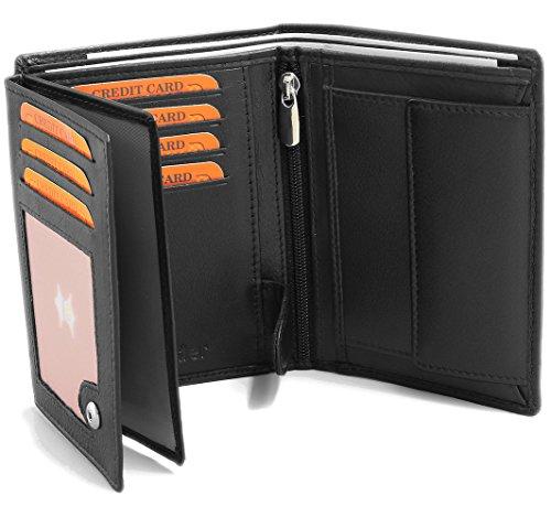 Fa.Volmer  Schwarze Ledergeldbörse aus echtem Leder in Hochformat mit TÜV geprüftem RFID Schutz Phoenix 3