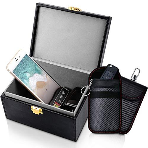 Samfolk Keyless Go Schutz Autoschlüssel Box Groß, Schlüsselbox Keyless Go Schutz Faraday Box RFID Schutz Autoschlüssel Funkschlüssel Abschirmung Box und 2...
