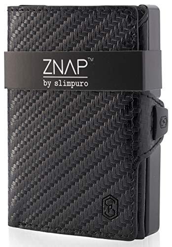 ZNAP Kreditkartenetui mit Geldklammer Aluminium und Münzfach - RFID Schutz - Slim Wallet Carbon - Kartenetui, Kreditkarten Etuis, Geldbörse - bis 12 Karten -...