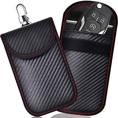 Keyless Go Schutz Autoschlüssel, 2 STK Mini RFID Autoschlüssel Schutz Keyless Go Schutzhülle Funkschlüssel Abschirmung Schlüsselmäppchen Leder...